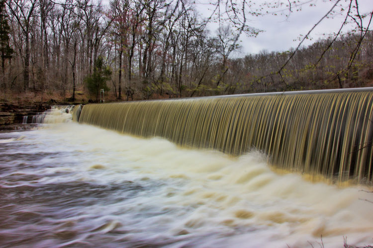 Slow Shutter Spillway Blurred Motion Day Flowing Flowing Water Long Exposure Motion No People Outdoors River Tree Water