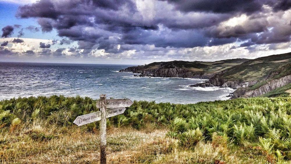 Devon UK Coastline Landscape Coastline Devon Landscape Beauty In Nature Sea Tranquility Nature Scenics Signpost Woolacombe, Devon Woolacombe Uk Coast Dramatic Sky Uk