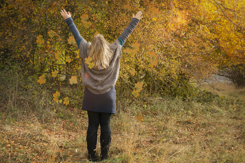 Woman with long blond hair stands in an autumn scenery and throws leafs Autumn Backside Cardigan Leafs Nature Trees Woman Atmospheric Autumn Scenery Blond Hair Comfortable Clothes Dances Deciduous Forest Energy From The Back Joy Lens Flares Long Hair Movement Poncho Skirt Stretches The Arms Throws Warm Clothes Whirls