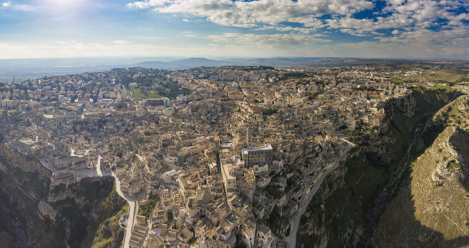 Aerial View Of Matera Cityscape Against Sky