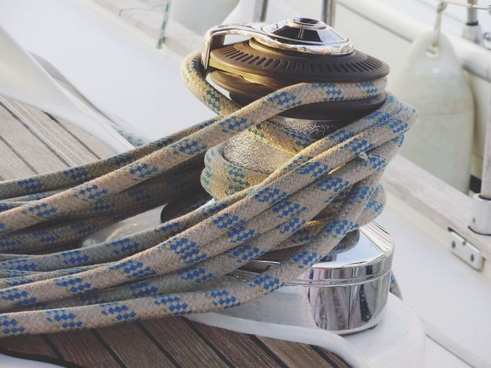 Close-up of ropes in ship