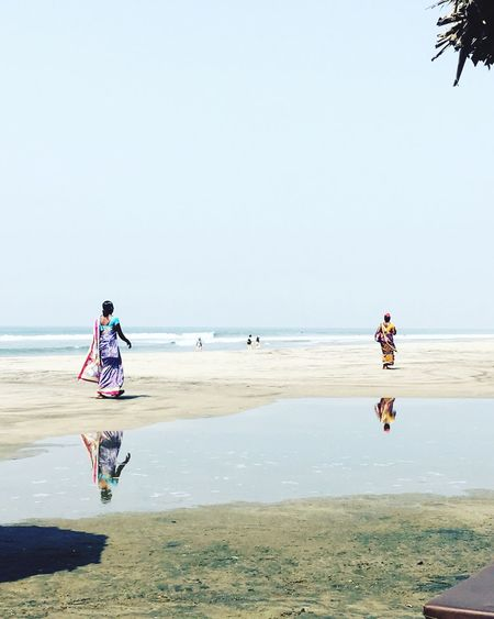 Ashvem Ashvem Beach Beach Business Full Length Goa Horizon Over Water India Indian Culture  Indian Women Outdoors People Scenics Sea Unrecognizable People Vacations Water Reflections Women