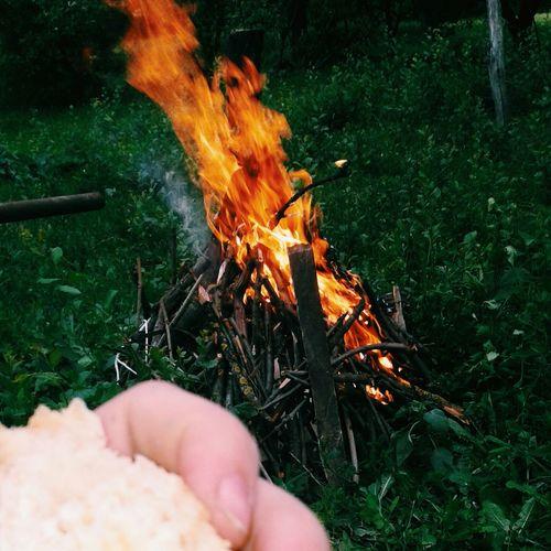 рука булочки кусочек костер огонь