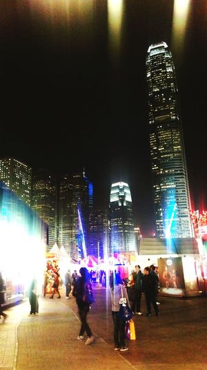 Carnival Taking Photos Night Lights HongKong