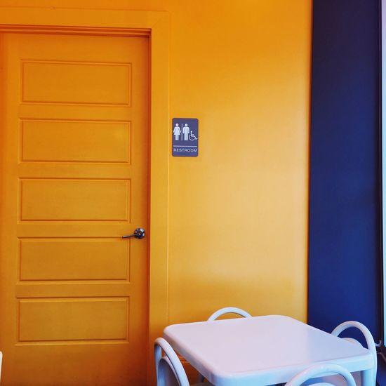 colourblock Door Cafe Yellow Blue White