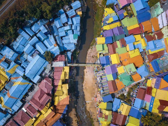 High angle view of multi colored buildings in town