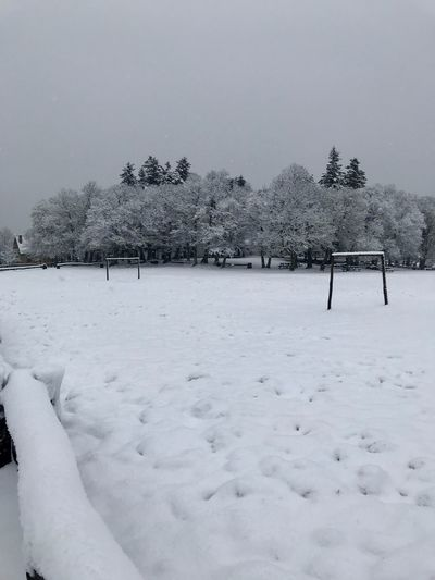 Soccer Field Snow Winter Cold Temperature Weather Nature Tree Cold Tranquility Beauty In Nature Frozen Field Landscape Outdoors Tranquil Scene Day No People Scenics Snowing
