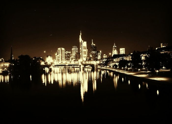 Frankfurt Am Main Bynight Langzeitbelichtung Beautiful City Night Night City Reflection Sky No People