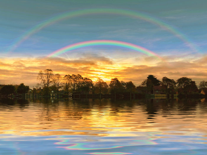 Rainbows over water Water Sky Beauty In Nature Scenics - Nature Cloud - Sky Sunset Tree Lake Tranquility Tranquil Scene Reflection Waterfront Plant Nature Idyllic No People Non-urban Scene Rainbow Outdoors