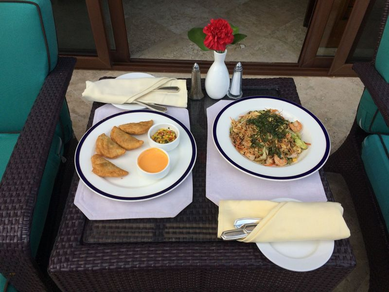 Dinner at the Fairmont Mayakoba Resort in Mexico. Dinner Dinner For Two Empanadas Mexico Relaxing Day Drink Food Food And Drink Freshness Fried Egg Healthy Eating High Angle View Indoors  Luxury Meal No People Plate Ready-to-eat Rose🌹 Serving Size Table