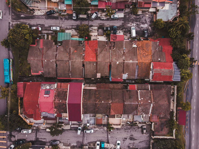 Aerial view of multi colored buildings in city