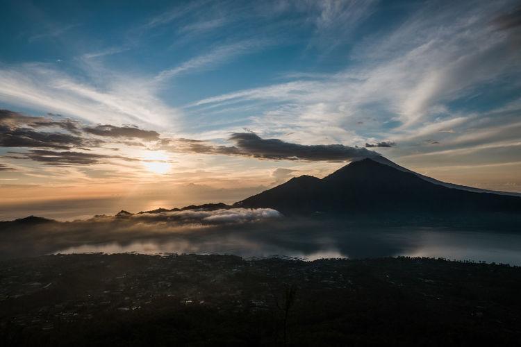 Scenic sunrise from mount batur