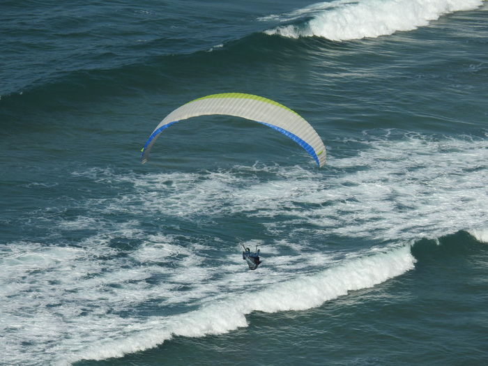 Paragliding Extreme Sports Parachute Flying Water Sport Adventure RISK Wave Multi Colored