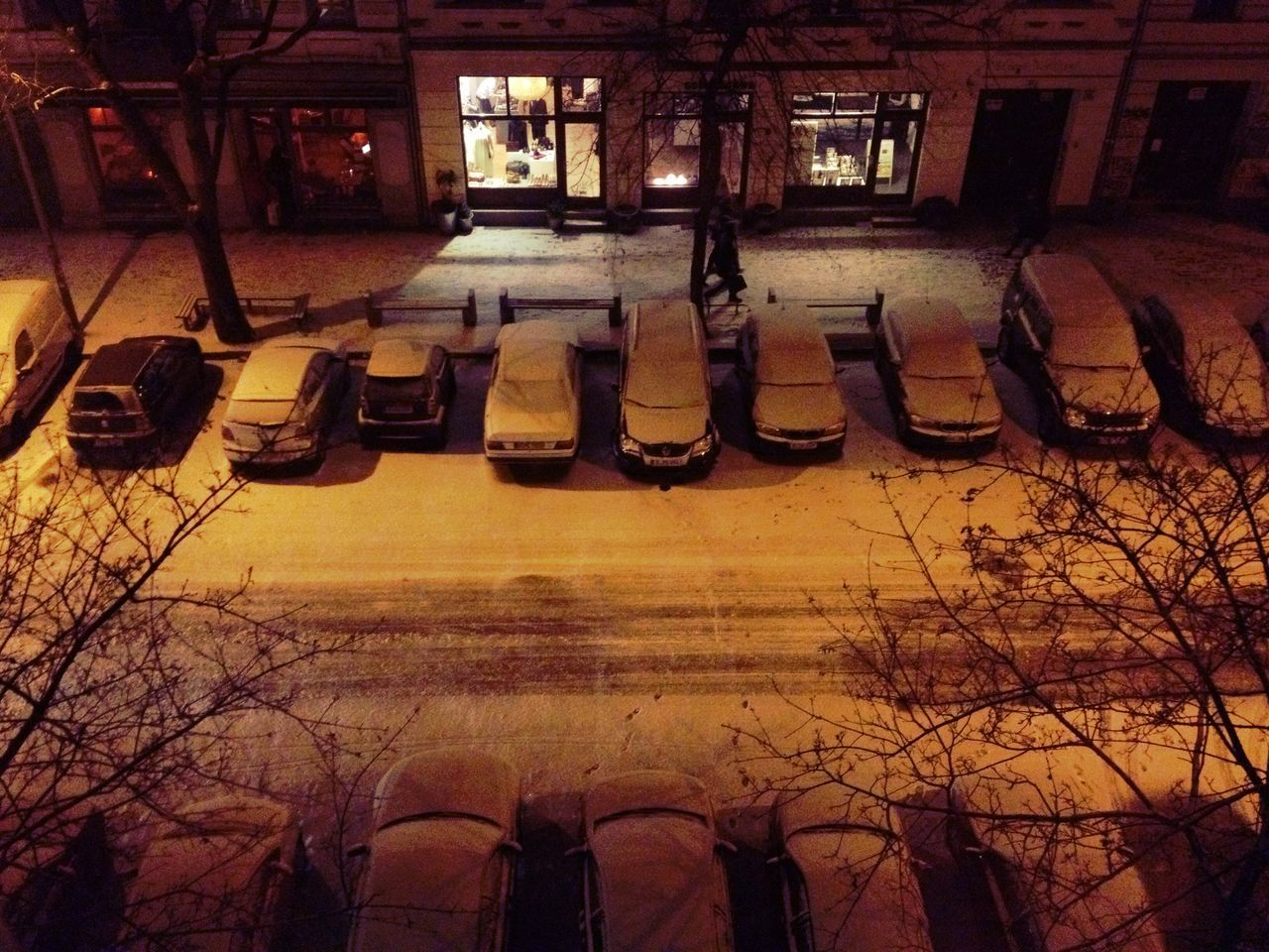 High angle view of cars at night during winter