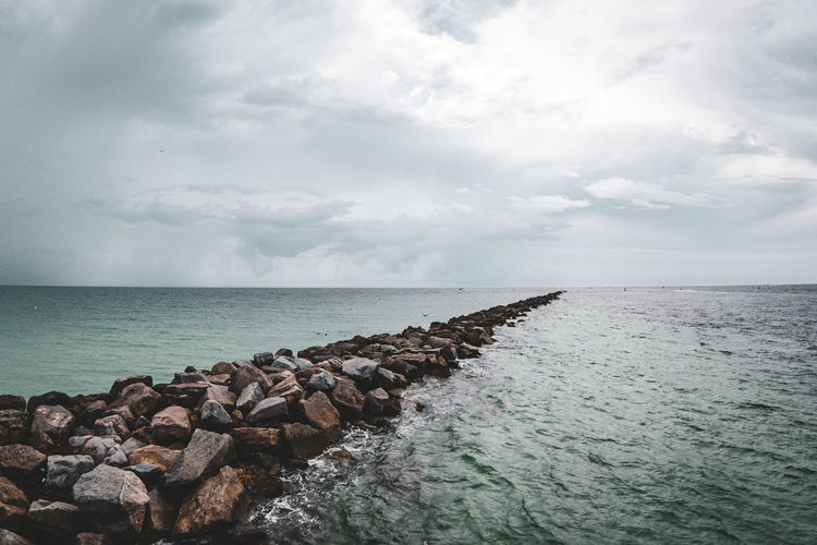 Stone way Sea Sky Water Horizon Horizon Over Water Beauty In Nature Cloud - Sky Scenics - Nature Nature Tranquility Solid Rock Tranquil Scene Groyne Day Rock - Object No People Non-urban Scene Outdoors Rocky Coastline