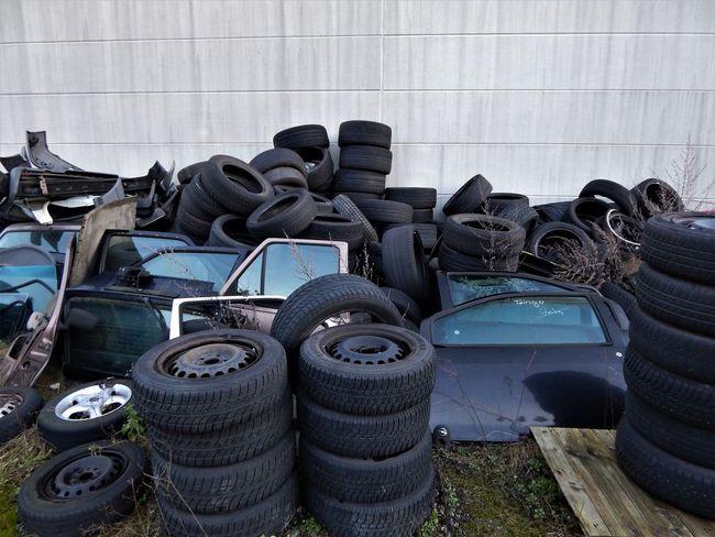 Junk Yard Schrott Tires No People Outdoors Reifen Rubber Schrottplatz Scrap Metal Scrap Yard Tire Wheels