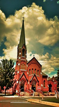 Church Catholic Church Steppel Dramatic Sky Peoria, Il Urban Architecture Lookingup Redemption Lies And Guilt Old Buildings