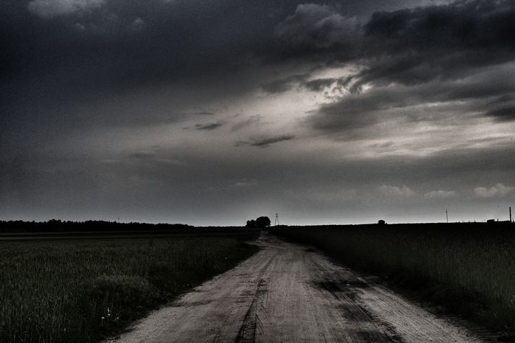 Rural Scene Agriculture Field Sky Landscape Cloud - Sky Dirt Road Empty Road The Way Forward Country Road Storm Cloud Countryside