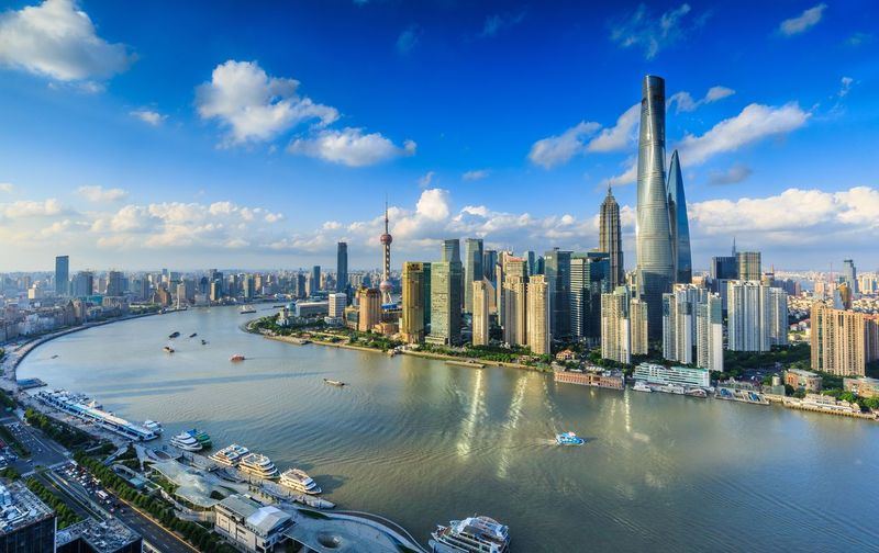 High Angle View Of Huangpu River By Cityscape