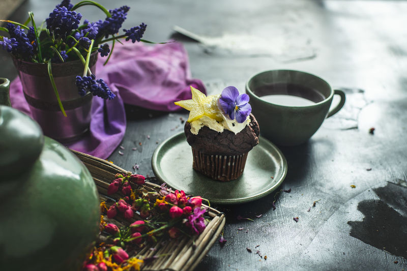 romantic, sweet afternoon with sweet choco muffin and fruit tea Light Dark Healthy Eating Snack Food Breakfast Food Spring April Flowers Nature Essen Muffin Cupcake Sweet Chocolate Romantic Evening Afternoon Calm Home Atmosphere