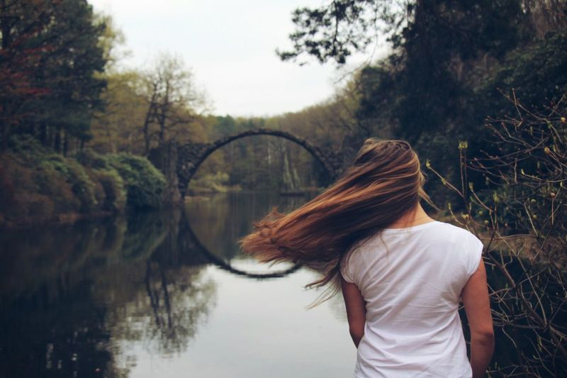 A silent moment. Rakotzbridge Rakotzbrücke Kromlauer Park Kromlau Photography Silent Moment Girl Long Hair One Person Nature Outdoors Water Day Tree