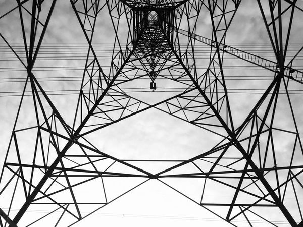 High Voltage Energy Pillars Technology Below Sky Electricity Pylon Industrial Transmission Line Tower Tower Wired Power Electricity