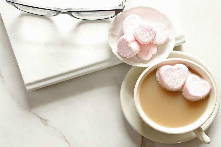 Reading Book Desktop Dessert Eyeglasses  Flat Lay Food And Drink Hot Chocolate Hot Cocoa  Latte Marble Marshmallows Office Overhead Overlay Snack Textured  Two Hearts White Work