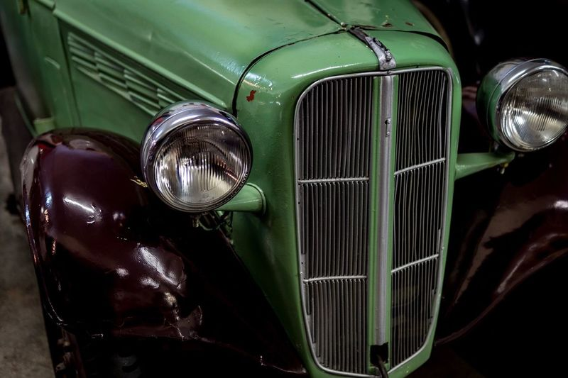 Headlight Transportation Mode Of Transport Vintage Car Old-fashioned Retro Styled Car Land Vehicle Full Frame Green Color Outdoors No People Close-up Day