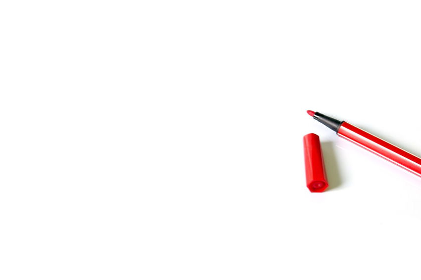 red pen on white background with copy space. Close-up Copy Space Day No People Red Red Pen Stationary Studio Shot White Background Writing Writing Instrument