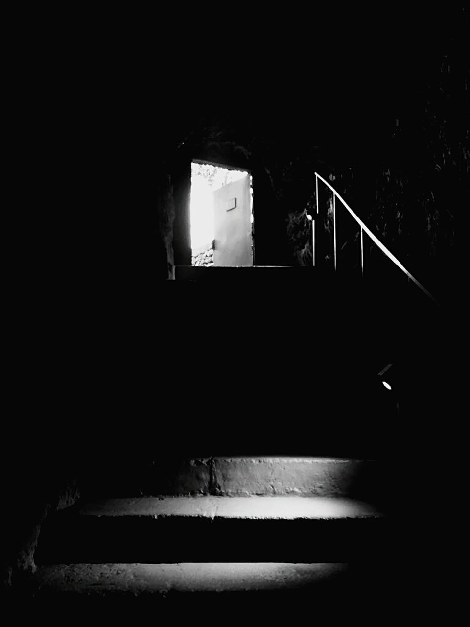 steps, steps and staircases, staircase, railing, indoors, built structure, architecture, night, real people, one person, close-up, people