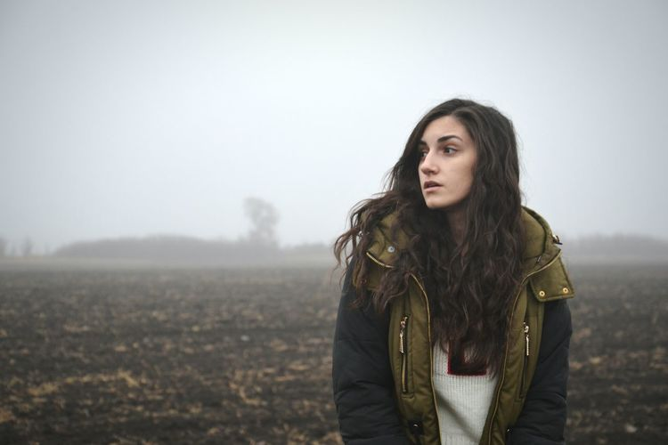 Sky Adults Only Young Women One Woman Only Portrait Day One Young Woman Only Only Women Young Adult Outdoors Fog Winter Cold Temperature People Storm Weather Nature