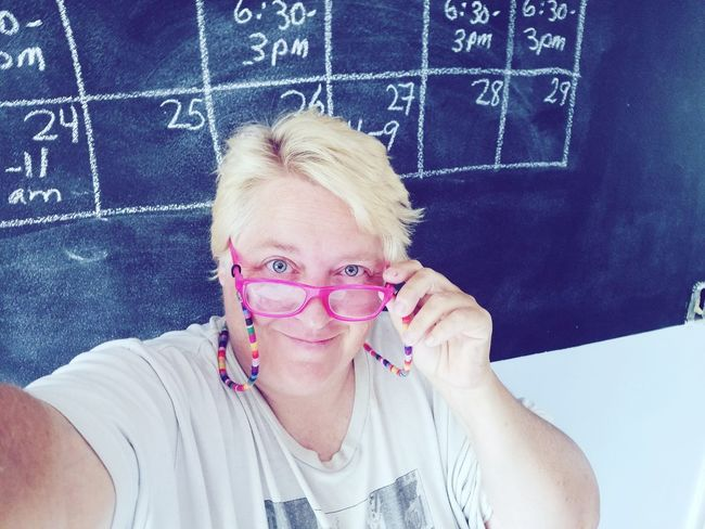 Pink Woman Adult Chalkboard Lgbt Messy Hair Lesbian Self Portrait Selfies Blond Hair Portrait Blackboard  Looking At Camera Headshot Girls Front View Smiling