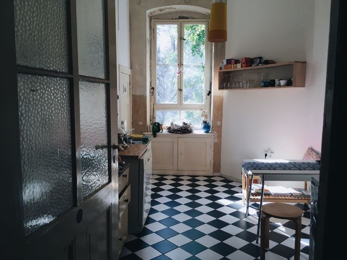Light And Shadow Floor Tile Black And White Kitchen Beautiful Sunshine Spring Minimalism Berlin Neukölln