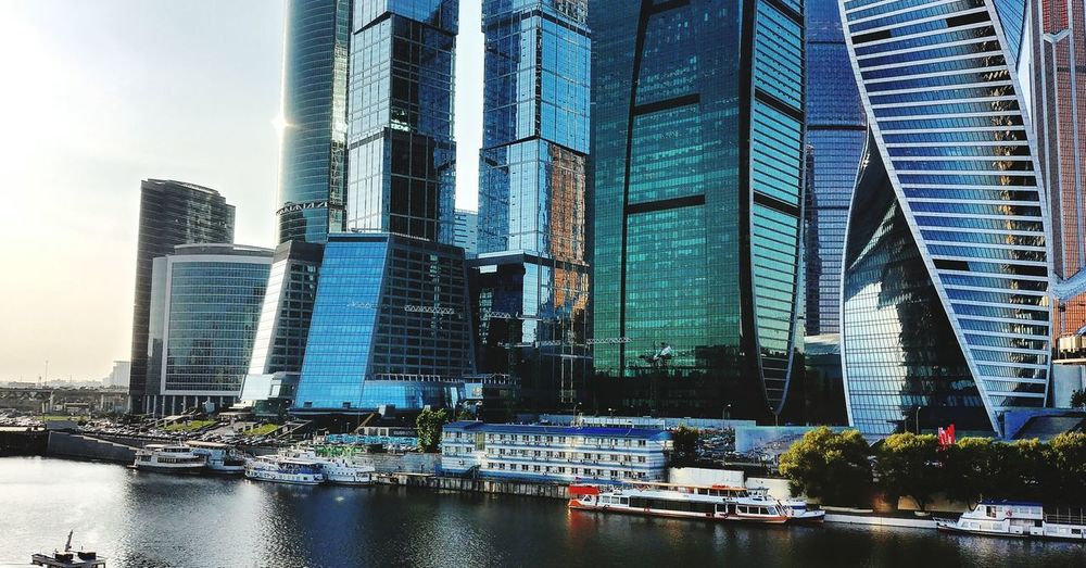 City center Moscow Moscow Moscow City Built Structure Sky Water River Riverview Tower First Eyeem Photo