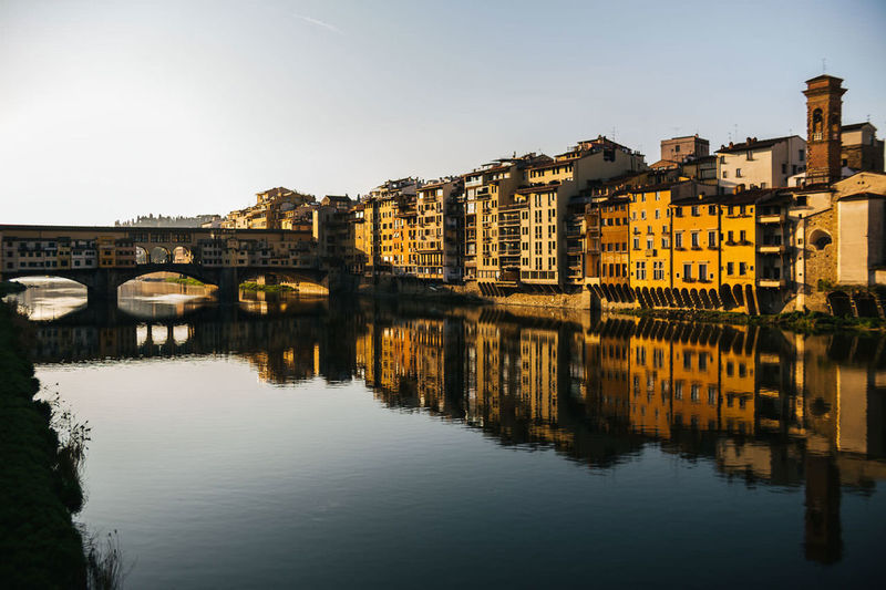 Reflection Architecture Water City Travel Destinations Outdoors Cityscape Building Exterior Landscape Bridge - Man Made Structure Ponte Vecchio Bridgeporn Bridge Over Water Sunrise Florence Italy