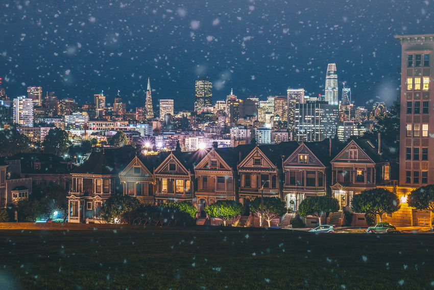 San Francisco at night while snowing. Famous Painted Ladies in the foreground. Alamo Square City Life Downtown Financial District  Night Photography Painted Ladies San Francisco San Francisco San Francisco, California Skyline Winter Wintertime Architecture Building Exterior City City Lights Cityscape Downtown District Night Painted Ladies San Francisco Skyline Sky Skyscraper Snow Snowing Urban Skyline