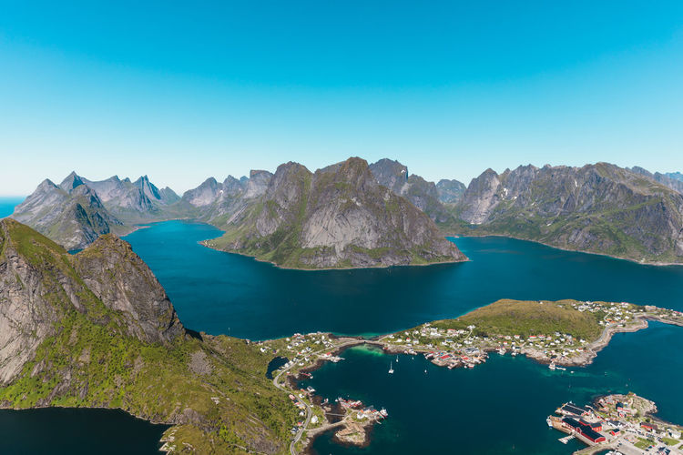 From Reinebringen Lofoten Lofoten Islands Lofoten Norway Landscape Sea Sky Clear Sky Water Scenics - Nature Beauty In Nature Mountain Day Outdoors No People Nature Blue Bay Land Vesterålen Idyllic Non-urban Scene Norway Norway Nature Lofoten And Vesteral Islands First Eyeem Photo