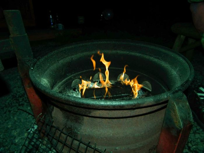 Firepit Barbecue Flame Fire Night Camping Colour Image Steel Cooking Outdoors Horizontal No People Warm Heat Chemistry Round Tyre Rim Metal Dark Night Photography Lifestyle Ignition Nature Burning Wood Dinner