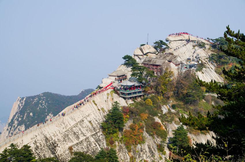 Peak of Hua mount, Shaanxi, China Hua Mountian Huashan Mountain Peak Of Hua Shan Mountian Building Exterior Cliff Peak Of Mountain Travel Destinations