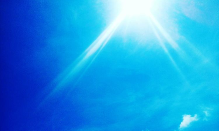 Blue Sunbeam Scenics Backgrounds Majestic Tranquility Sky Sun Heaven Outdoors Day Vibrant Color Tranquil Scene