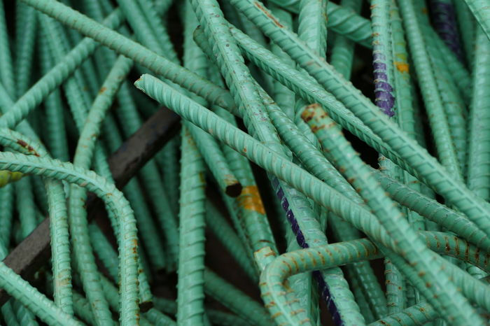 Rebar Abundance Backgrounds Close-up Complexity Connection Day Full Frame Green Color Large Group Of Objects Multi Colored No People Pattern Plant Part Reinforcement Bar Still Life Strength Tangled Textured  Turquoise Colored