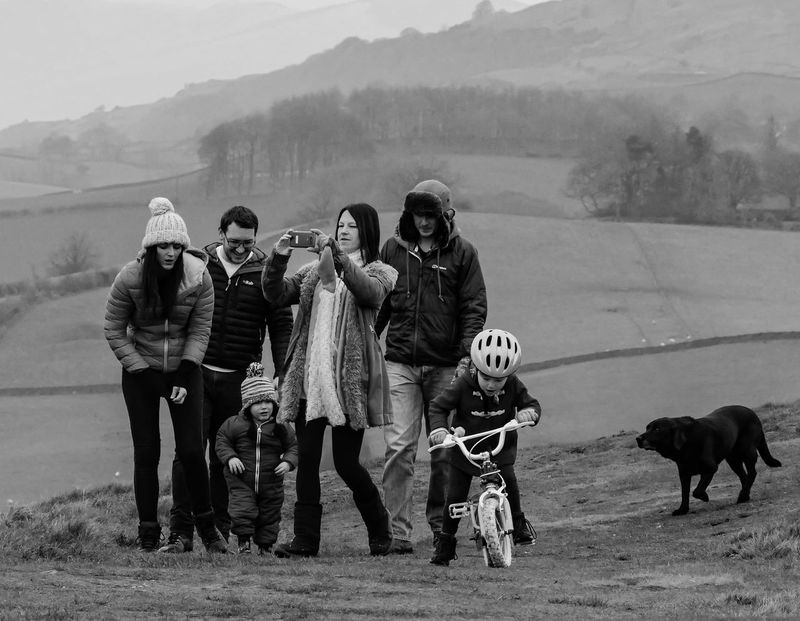 Street Photography Streetlife Black And White Monochrome Photography Family Children Dayout Walking Dog Pets Outdoors Pet Owner Bicycle Misty Picsartrefugees Winter