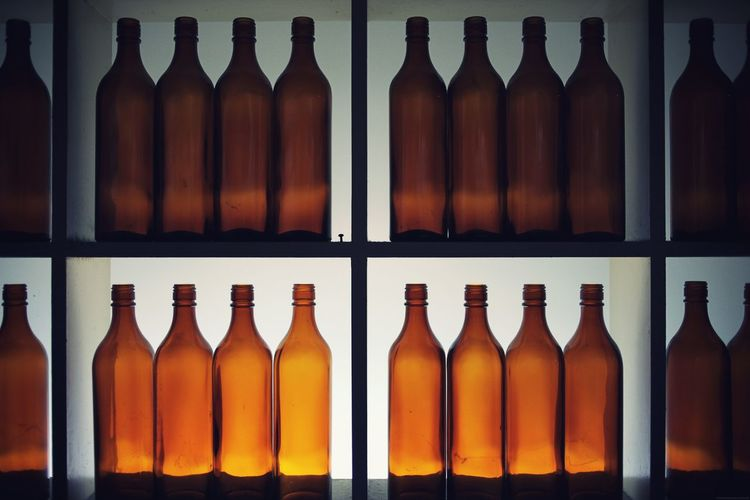 Art Bottle Bottles Clean Close-up Day Decor Empty Food And Drink In A Row Indoors  Large Group Of Objects Lighting Neat Organized Shadow