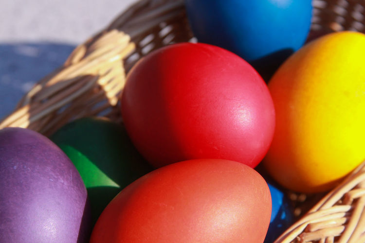 Close-up of colorful easter eggs on table