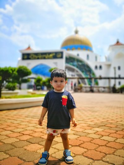 Mosque City Child Full Length Childhood Males  Boys Portrait Standing Smiling Happiness Babyhood