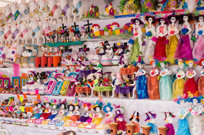 Multi Colored Choice Large Group Of Objects Variation Abundance Retail  Arrangement No People In A Row Toy Order Indoors  Collection For Sale Human Representation Creativity Store Full Frame Pattern Market Street Market Catrina Dulce Calavera  DIA DE MUERTOS