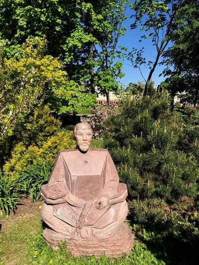 Japanese  Moscow Muzeon Art And Craft Creativity Green Color Growth Human Representation Male Likeness Muzeonpark No People Outdoors Park Representation Sculpture Solid Statue Sunlight Tranquility