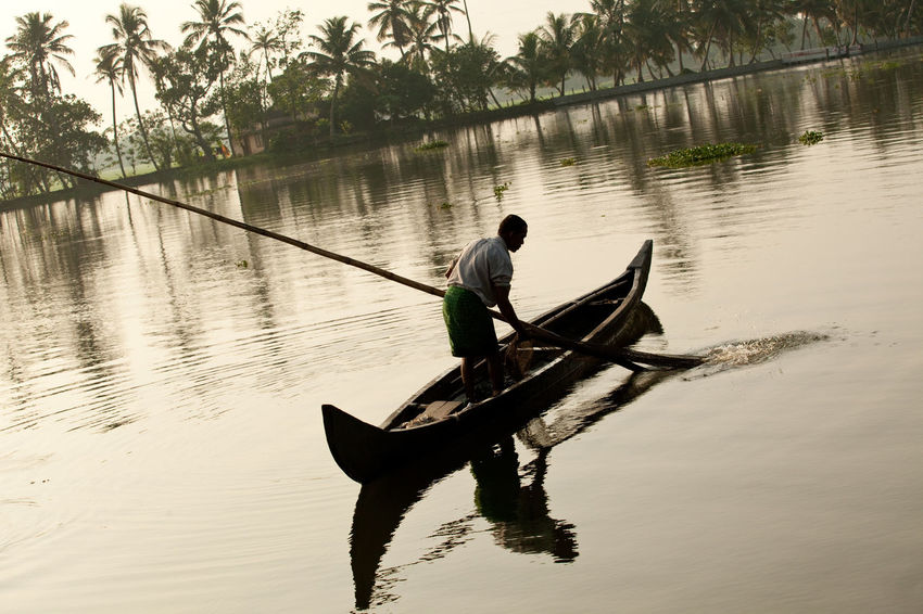 Fishing Village Kerela, India Travel Beauty In Nature Fisherman Fishing Kerela Kerela India Man Fishing Mode Of Transportation Oar One Person Real People Reflection Water