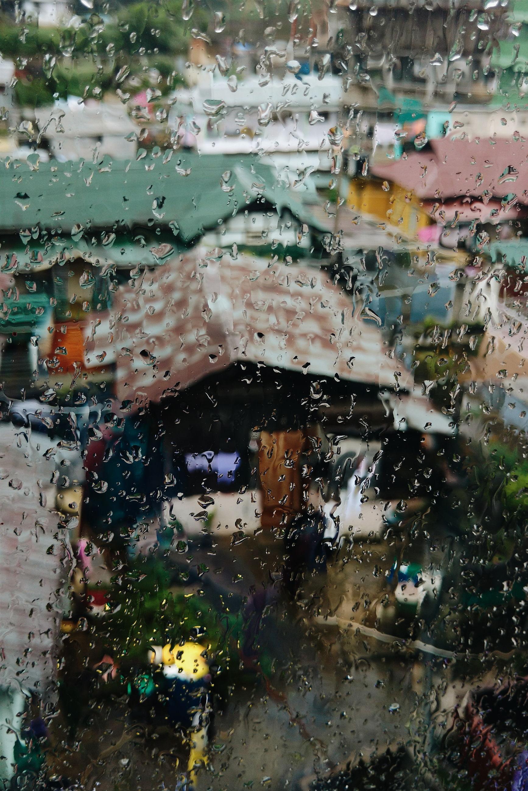 wet, water, rain, season, land vehicle, mode of transport, monsoon, road, city, weather, rainy season, focus on foreground, no people, day, outdoors, close-up, city street, city life