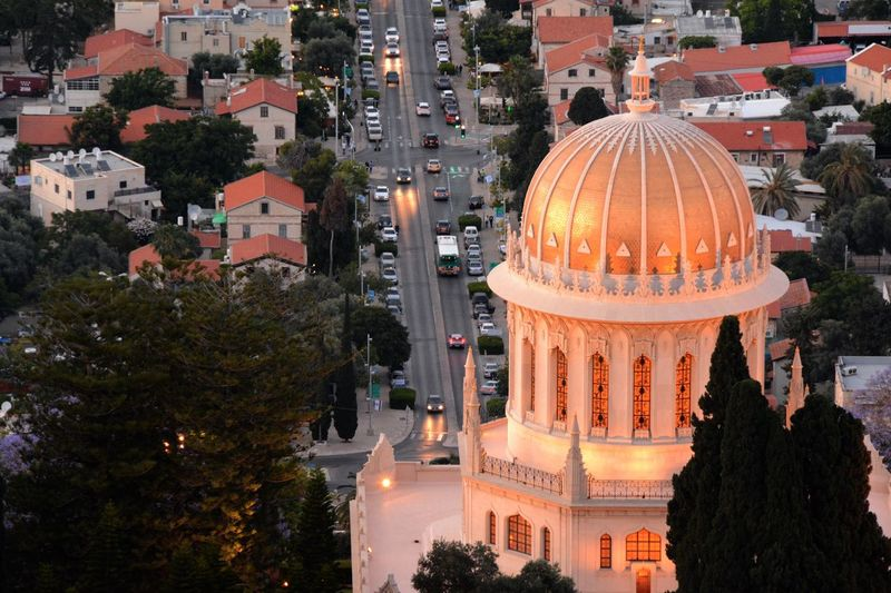 Bahai Temple At Silhouette Time Haifa Architecture Building Exterior Built Structure Dome Outdoors Silhouette Time Tree